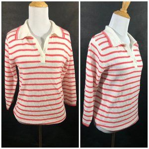 Red and White Striped Sweater by White Stag, Colla